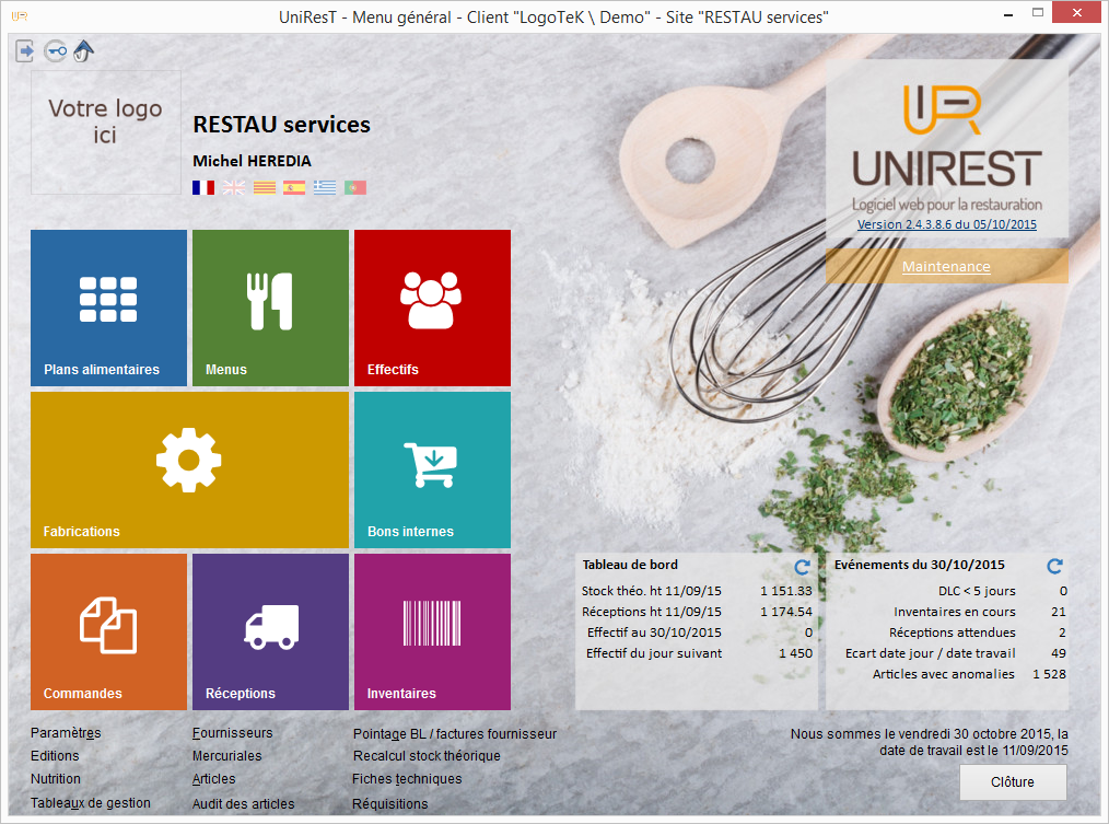 ecran menu unirest